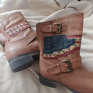 US SZ 6 ROSE COLORED LEATHER MOTO BOOTS W/USA FLAG